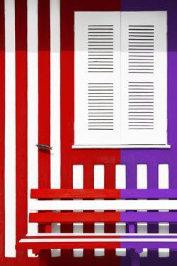 Welcome to Portugal Collection - Colorful Facade with Red and Purple Stripes by Philippe Hugonnard