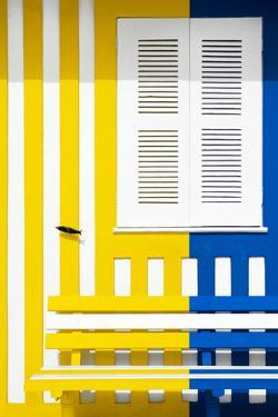 Welcome to Portugal Collection - Colorful Facade with Yellow and Blue Marine Stripes by Philippe Hugonnard