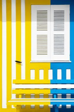 Welcome to Portugal Collection - Colorful Facade with Yellow and Blue Stripes by Philippe Hugonnard