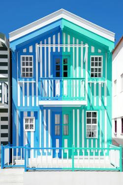 Welcome to Portugal Collection - Colorful Striped House Blue & Coral Green by Philippe Hugonnard