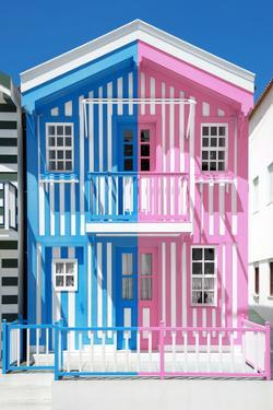 Welcome to Portugal Collection - Colorful Striped House Blue & Pink by Philippe Hugonnard
