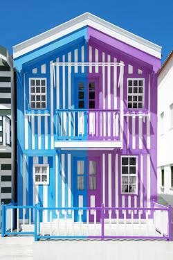 Welcome to Portugal Collection - Colorful Striped House Blue & Purple by Philippe Hugonnard