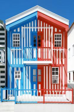 Welcome to Portugal Collection - Colorful Striped House Blue & Red by Philippe Hugonnard