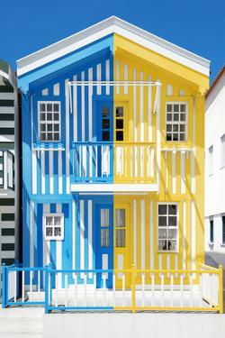 Welcome to Portugal Collection - Colorful Striped House Blue & Yellow by Philippe Hugonnard