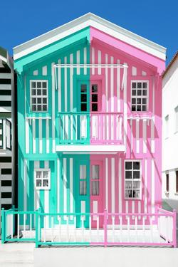 Welcome to Portugal Collection - Colorful Striped House Coral Green & Pink by Philippe Hugonnard