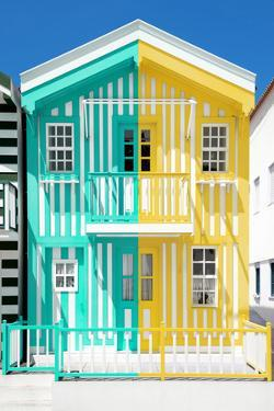 Welcome to Portugal Collection - Colorful Striped House Coral Green & Yellow by Philippe Hugonnard