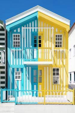 Welcome to Portugal Collection - Colorful Striped House Light Blue & Yellow by Philippe Hugonnard