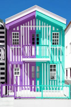 Welcome to Portugal Collection - Colorful Striped House Purple & Coral Green by Philippe Hugonnard