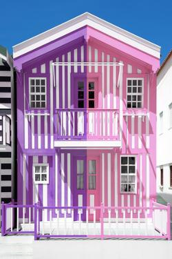 Welcome to Portugal Collection - Colorful Striped House Purple & Pink by Philippe Hugonnard