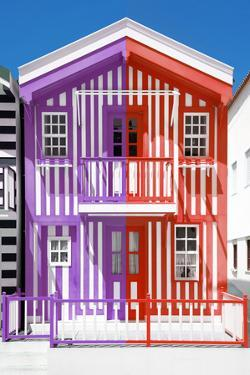 Welcome to Portugal Collection - Colorful Striped House Purple & Red by Philippe Hugonnard