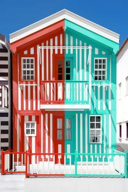 Welcome to Portugal Collection - Colorful Striped House Red & Coral Green by Philippe Hugonnard
