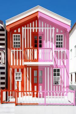 Welcome to Portugal Collection - Colorful Striped House Red & Pink by Philippe Hugonnard