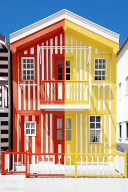 Welcome to Portugal Collection - Colorful Striped House Red & Yellow by Philippe Hugonnard