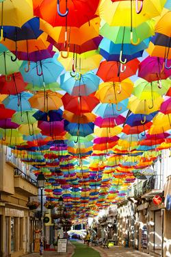 Welcome to Portugal Collection - Colourful Umbrellas V by Philippe Hugonnard