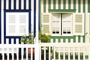 Welcome to Portugal Collection - Facade of beach House with Colourful Stripes II by Philippe Hugonnard