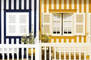 Welcome to Portugal Collection - Facade of beach House with Colourful Stripes III by Philippe Hugonnard