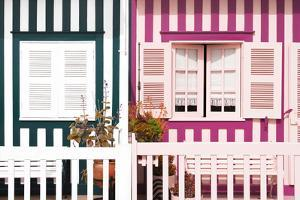 Welcome to Portugal Collection - Facade of beach House with Colourful Stripes IV by Philippe Hugonnard