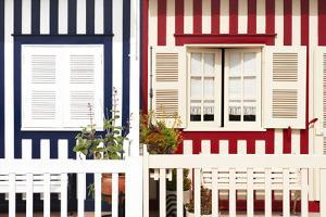 Welcome to Portugal Collection - Facade of beach House with Colourful Stripes by Philippe Hugonnard