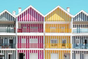 Welcome to Portugal Collection - Four Houses of Striped Colors II by Philippe Hugonnard