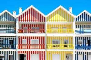 Welcome to Portugal Collection - Four Houses of Striped Colors by Philippe Hugonnard
