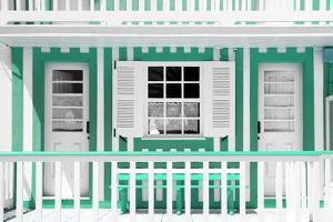 Welcome to Portugal Collection - Green and White Striped House Facade by Philippe Hugonnard