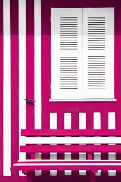 Welcome to Portugal Collection - House facade with Deep Pink and White Stripes by Philippe Hugonnard
