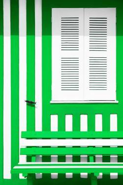 Welcome to Portugal Collection - House facade with Green and White Stripes by Philippe Hugonnard