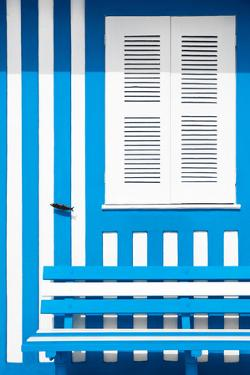 Welcome to Portugal Collection - House facade with Light Blue and White Stripes by Philippe Hugonnard