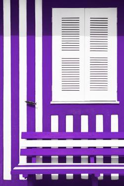 Welcome to Portugal Collection - House facade with Purple and White Stripes by Philippe Hugonnard