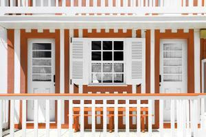 Welcome to Portugal Collection - Orange and White Striped House Facade by Philippe Hugonnard