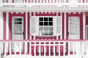 Welcome to Portugal Collection - Pink and White Striped House Facade by Philippe Hugonnard