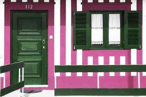 Welcome to Portugal Collection - Pink Striped Beach House by Philippe Hugonnard