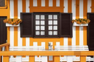 Welcome to Portugal Collection - Pretty Orange Striped House Facade by Philippe Hugonnard