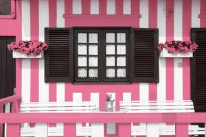 Welcome to Portugal Collection - Pretty Pink Striped House Facade by Philippe Hugonnard