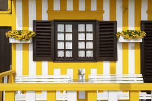 Welcome to Portugal Collection - Pretty Yellow Striped House Facade by Philippe Hugonnard