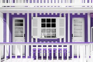 Welcome to Portugal Collection - Purple and White Striped House Facade by Philippe Hugonnard