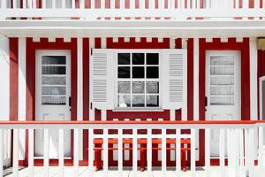 Welcome to Portugal Collection - Red and White Striped House Facade by Philippe Hugonnard
