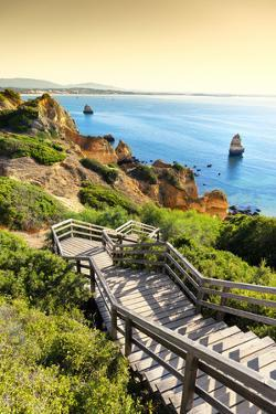 Welcome to Portugal Collection - Stairs to Camilo Beach at Sunset by Philippe Hugonnard