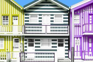Welcome to Portugal Collection - Three Houses with Colorful Stripes I by Philippe Hugonnard
