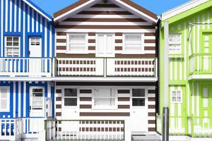 Welcome to Portugal Collection - Three Houses with Colorful Stripes II by Philippe Hugonnard