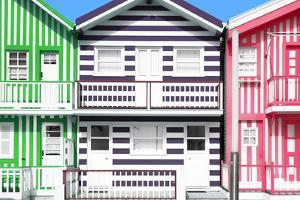 Welcome to Portugal Collection - Three Houses with Colorful Stripes III by Philippe Hugonnard