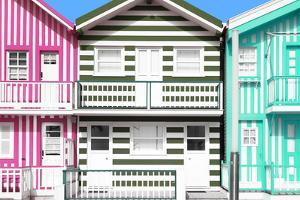 Welcome to Portugal Collection - Three Houses with Colorful Stripes IV by Philippe Hugonnard