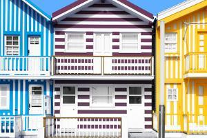 Welcome to Portugal Collection - Three Houses with Colorful Stripes V by Philippe Hugonnard