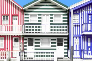 Welcome to Portugal Collection - Three Houses with Colorful Stripes VI by Philippe Hugonnard