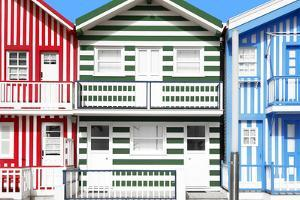 Welcome to Portugal Collection - Three Houses with Colorful Stripes by Philippe Hugonnard