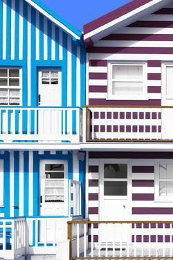 Welcome to Portugal Collection - Two Striped Facade Blue & Crimson by Philippe Hugonnard