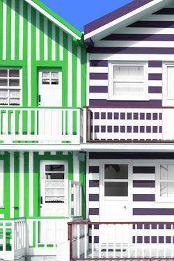 Welcome to Portugal Collection - Two Striped Facade Green & Mauve by Philippe Hugonnard