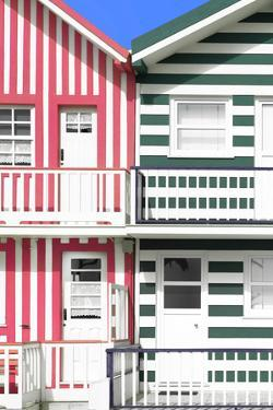Welcome to Portugal Collection - Two Striped Facade Hot Pink & Olive Drab by Philippe Hugonnard