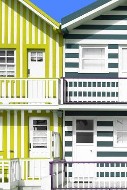 Welcome to Portugal Collection - Two Striped Facade Lime Green & Olive Drab by Philippe Hugonnard