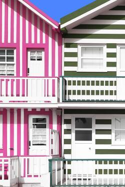 Welcome to Portugal Collection - Two Striped Facade Pink & Olive Drab by Philippe Hugonnard